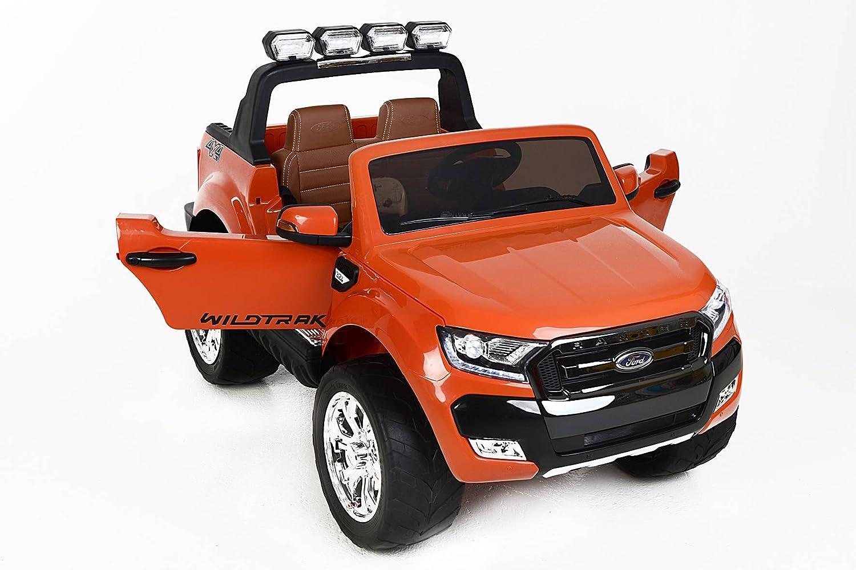 RIRICAR Ford Ranger Wildtrak 4X4 LCD Luxury, Coche eléctrico para niños, 2.4Ghz, Pantalla LCD, Naranja, 2x12V, 4 X Motor, Mando a Distancia, Dos ...