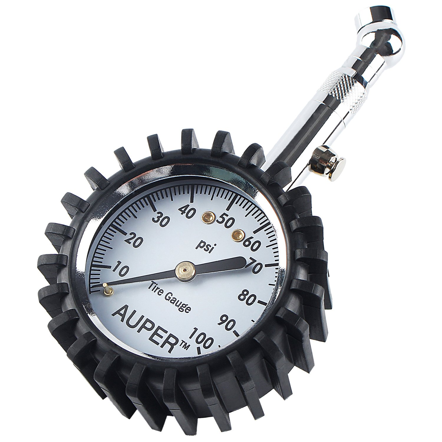 AUPER Tire Pressure Gauge, High Accuracy Tire Gauges Heavy Duty Air Pressure Gauge 100 PSI Pressure Gauge Easy to Use for Car, Truck, Motorcycle, Mountain Bike and More