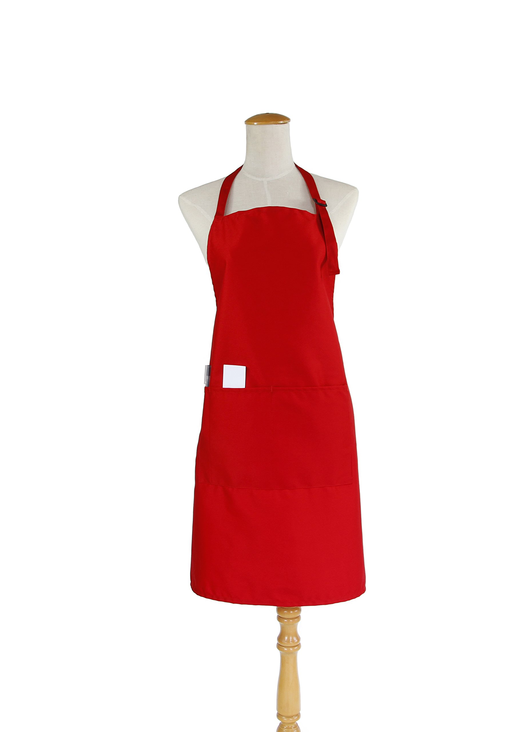 Bib Apron Cooking Kitchen Aprons Adjustable Waterproof Apron with Double Pockets