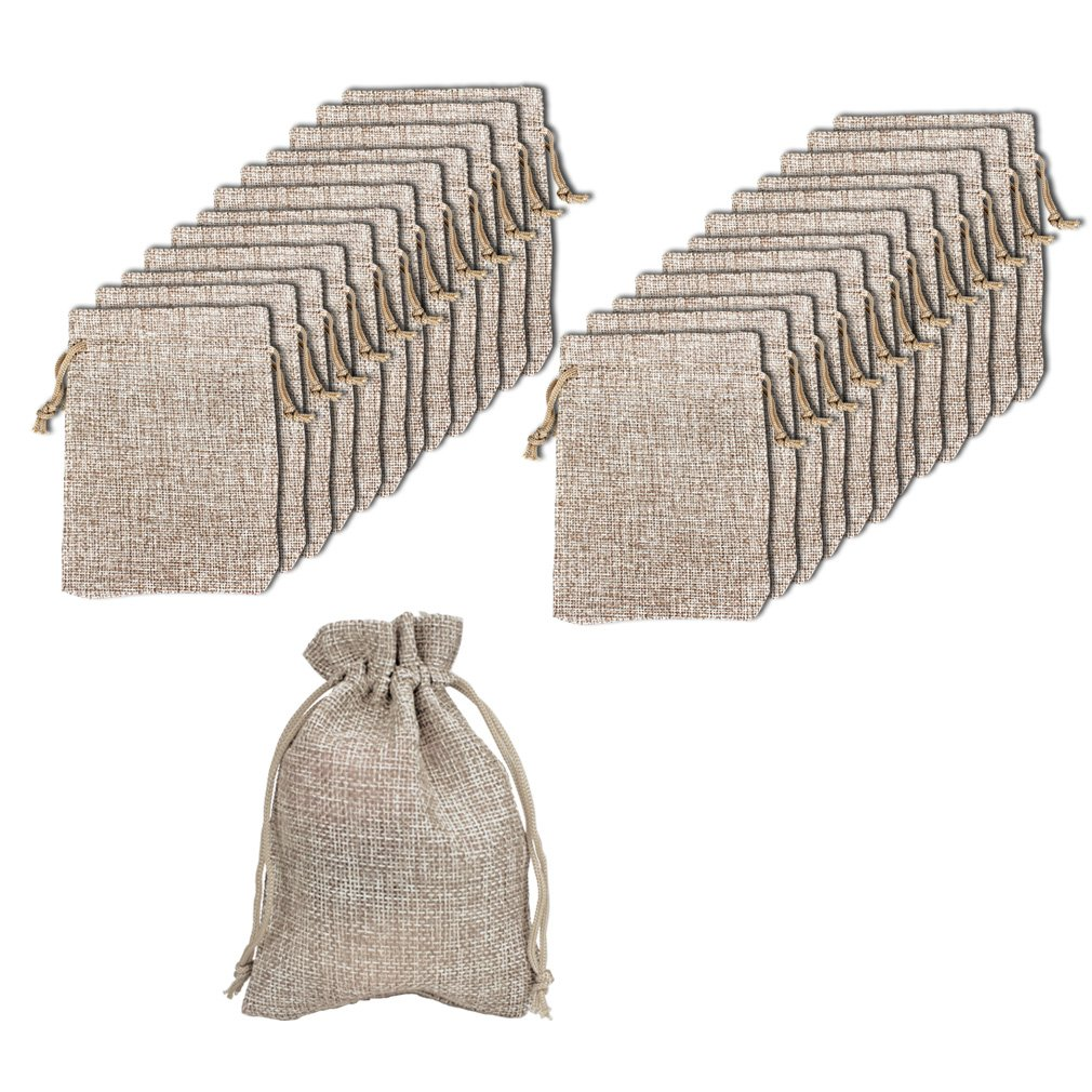 FASOTY Pack of 24 Burlap Bags with Drawstring Gift Bags Jewelry Pouch for Wedding Party and DIY Craft, 4 inches x 3.5 inches (Color 2)