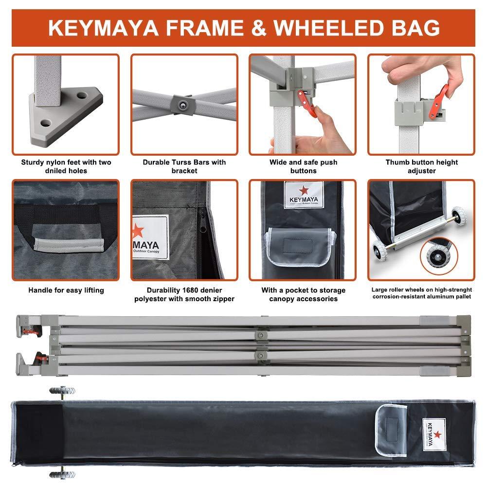 Keymaya 10'x10' Ez Commercial Instant Tent Heavy Duty Pop-up Canopy Shelter Bonus Weight Bag 4-pc Pack (Black) by Keymaya (Image #3)