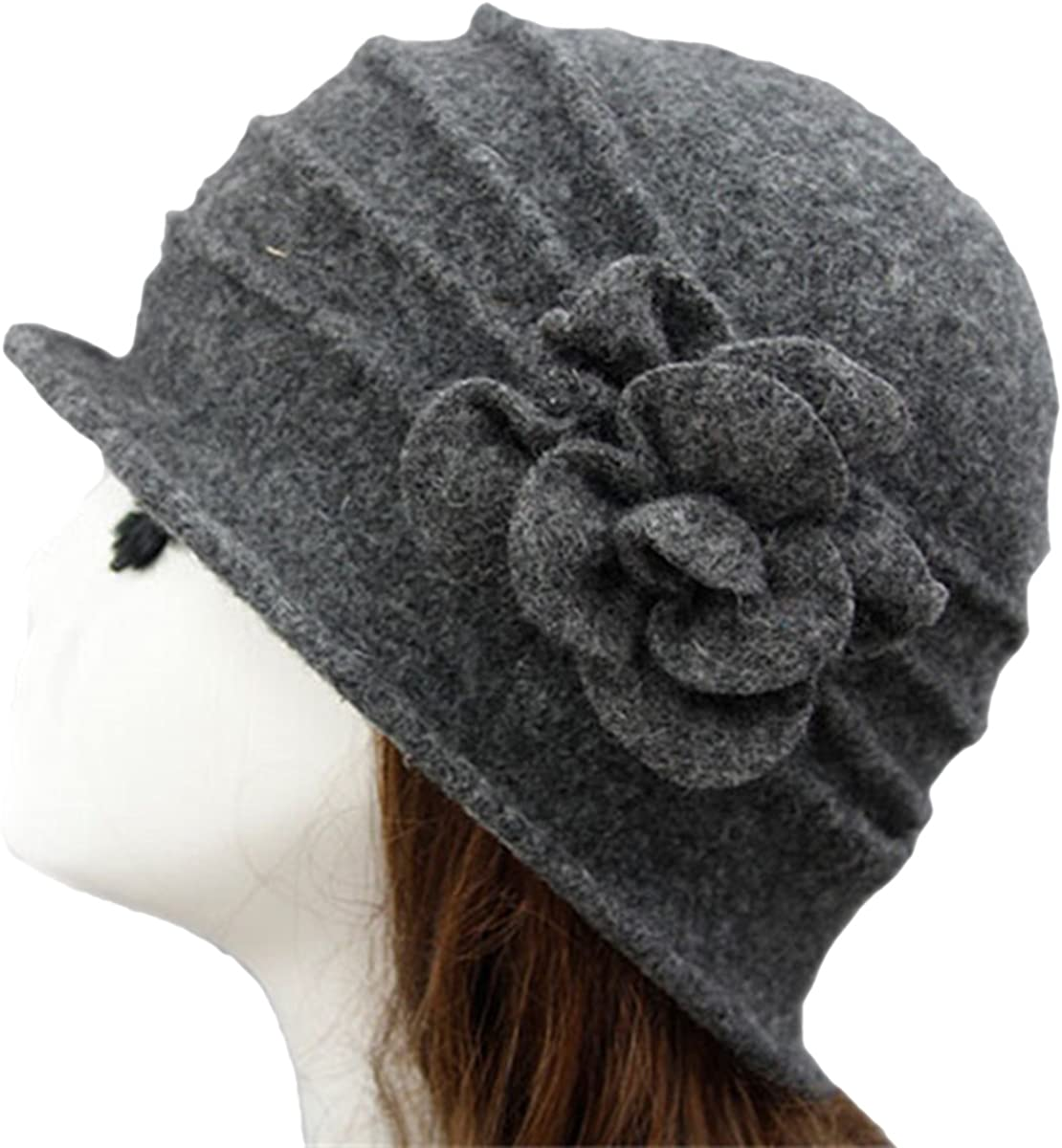 iKulilky Damen Winter Wolle Bucket Hut Vintage Cloche Bowler Cap Beret M/ütze Topfhut Blumendetail Billycock Derby Beanies Hat