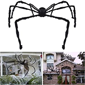 Unomor 7.5 ft Giant Halloween Spider Largest Scary Hairy Spider for Outdoor Halloween Decorations or Haunted House Decor(Black)