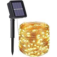 flintronic® Guirnalda de Luces Solares, 1PCS/100LED Luces Jardín (8 Modos)10M/33pies Auto Encendido/Apagado Alambre de…