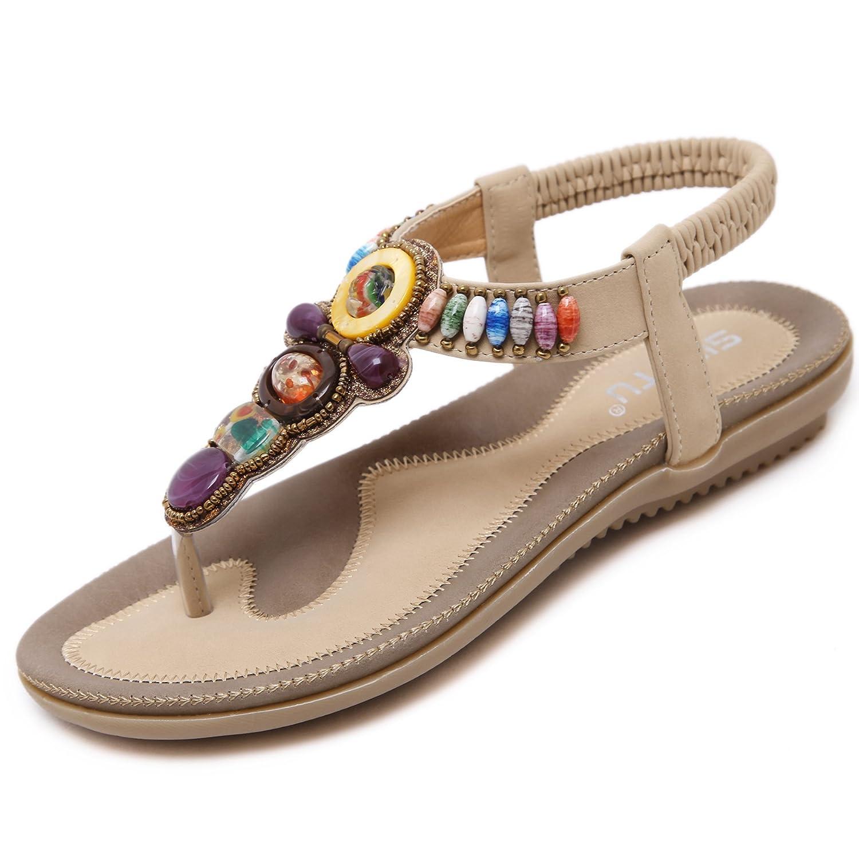 katliu Damen Sommer Sandalen Bouml;hmische Zehentrenner Sommerschuhe Frauen Flach Outdoor Schuhe  36 EU|Off White