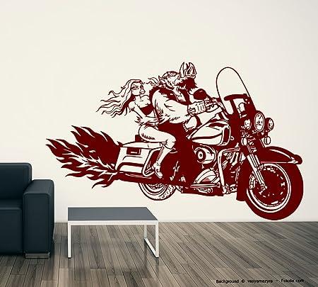 Sunnywall Pared Adhesivo Biker Jabalí Cerdo Moto Bike Girl: Amazon ...