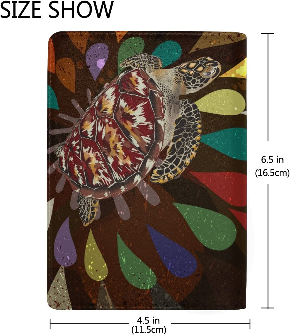 Abstract Turtle Genuine Leather Passport Holder Wallet Case Cover for Men Women