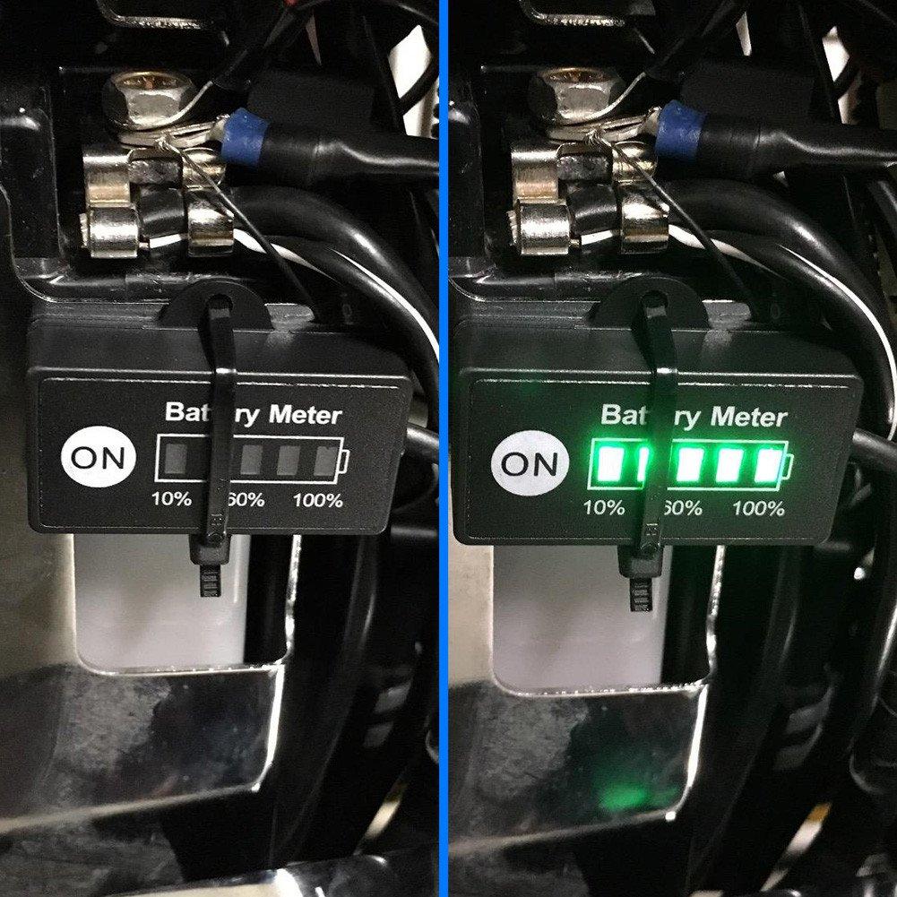 BUNKER INDUST Mini 12V 24V LED Battery Indicator Gauge Meter, Universal Lead-acid Battery Tester for Motorcycle Golf Carts Car Marine ATV by BUNKER INDUST (Image #5)