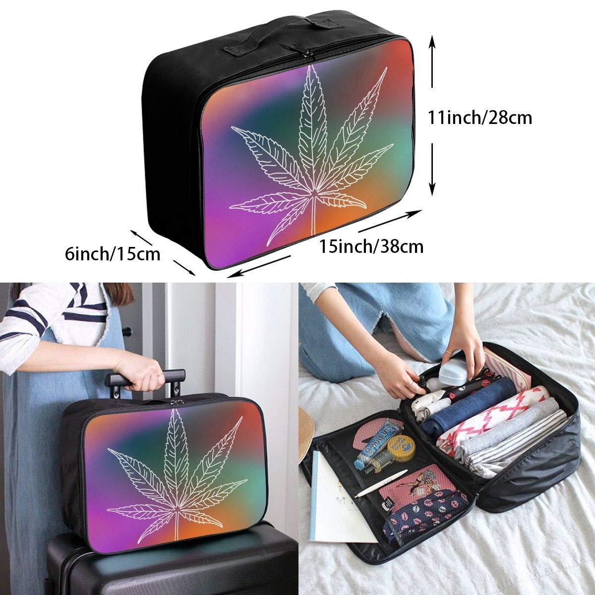 YueLJB Marijuana Weed Colorful Lightweight Large Capacity Portable Luggage Bag Travel Duffel Bag Storage Carry Luggage Duffle Tote Bag