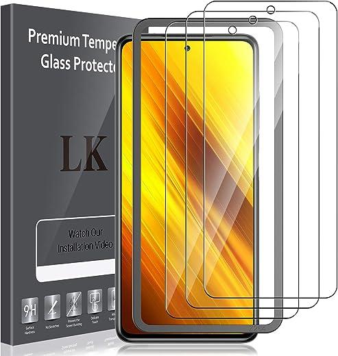 LK Compatible con Xiaomi Poco X3 NFC Protector de Pantalla,3 Pack,9H Dureza Cristal Templado, Vidrio Templado Screen Protector