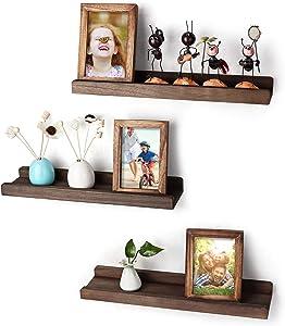Emfogo Wood Picture Ledge Shelf Rustic Floating Shelves Set for 3 Kitchen Farmhouse Bathroom Decor Nursery Kids Bookshelf 16.9 inch (Weathered Walnut)