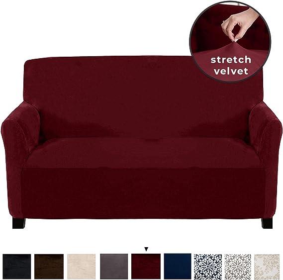 Great Bay Home Velvet Plush Stretch Loveseat Slipcover. Velvet Loveseat Furniture Protector