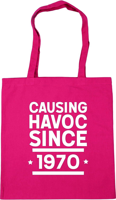 Hippowarehouse Causing havoc since 1970 birthday Tote Shopping Gym Beach Bag 42cm x38cm 10 litres
