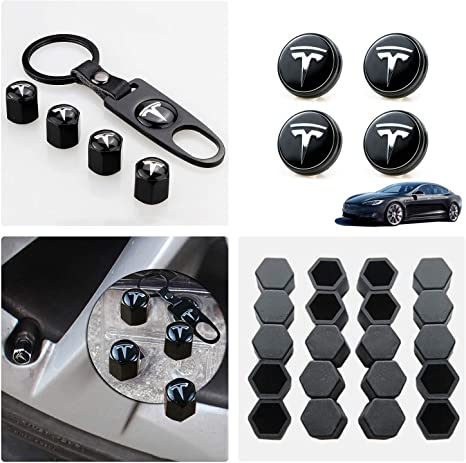 Tesla Model 3 / X/S Aero Wheel Cap Kit Set of 28,Wheel Center Hub Caps Covers with LED Light & Lug Nut Bolt Cover Caps & Tire Valve Cap Cover Styling ...