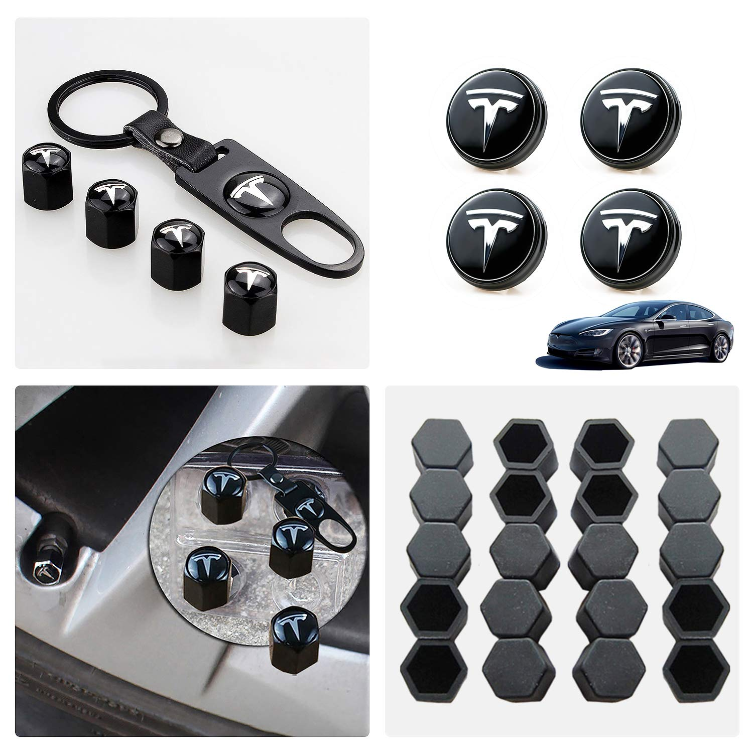 Tesla Model 3 Aero Wheel Cap Kit,Set of 28,Wheel Center Hub Caps Covers with LED Light & Lug Nut Bolt Cover Caps & Tire Valve Cap Cover Logo Styling Combined Package,Blue Light by LFOTPP