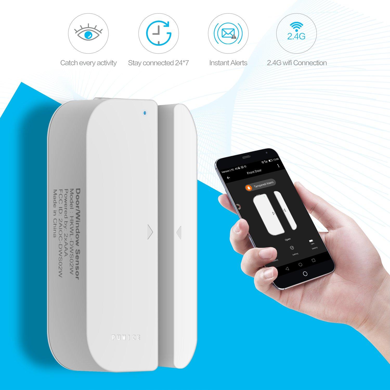 Wifi Door/Window Sensor,2018 New Wireless Smart Security Alarm Doorbell Magnet Contact Sensor with Easy App for Home Office Business Burglar Alert,Compatible with Alexa Google Home IFTTT
