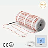 4.0m² Premium Quality 200w/m² Underfloor Heating Mat-Dual Core Electric Cable, All Size Under Tile Heating Floor Self-adhesive Mat (4.0m² mat+Programmable Thermostat)