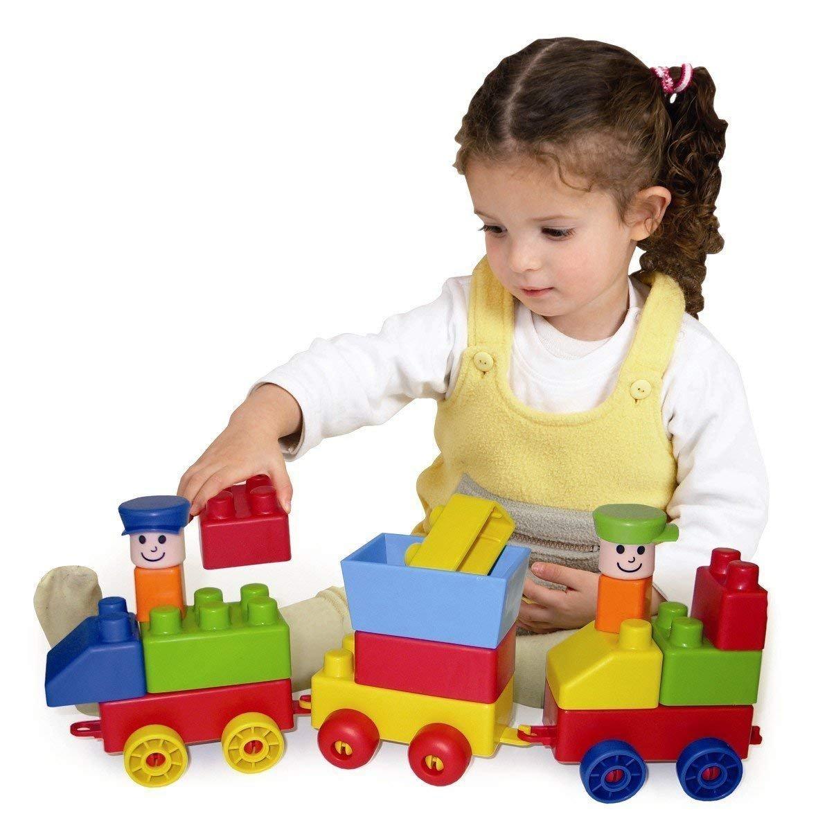 Edushape Mini Edu-Blocks Flexible Blocks Edu-Train Set, 56 Pieces