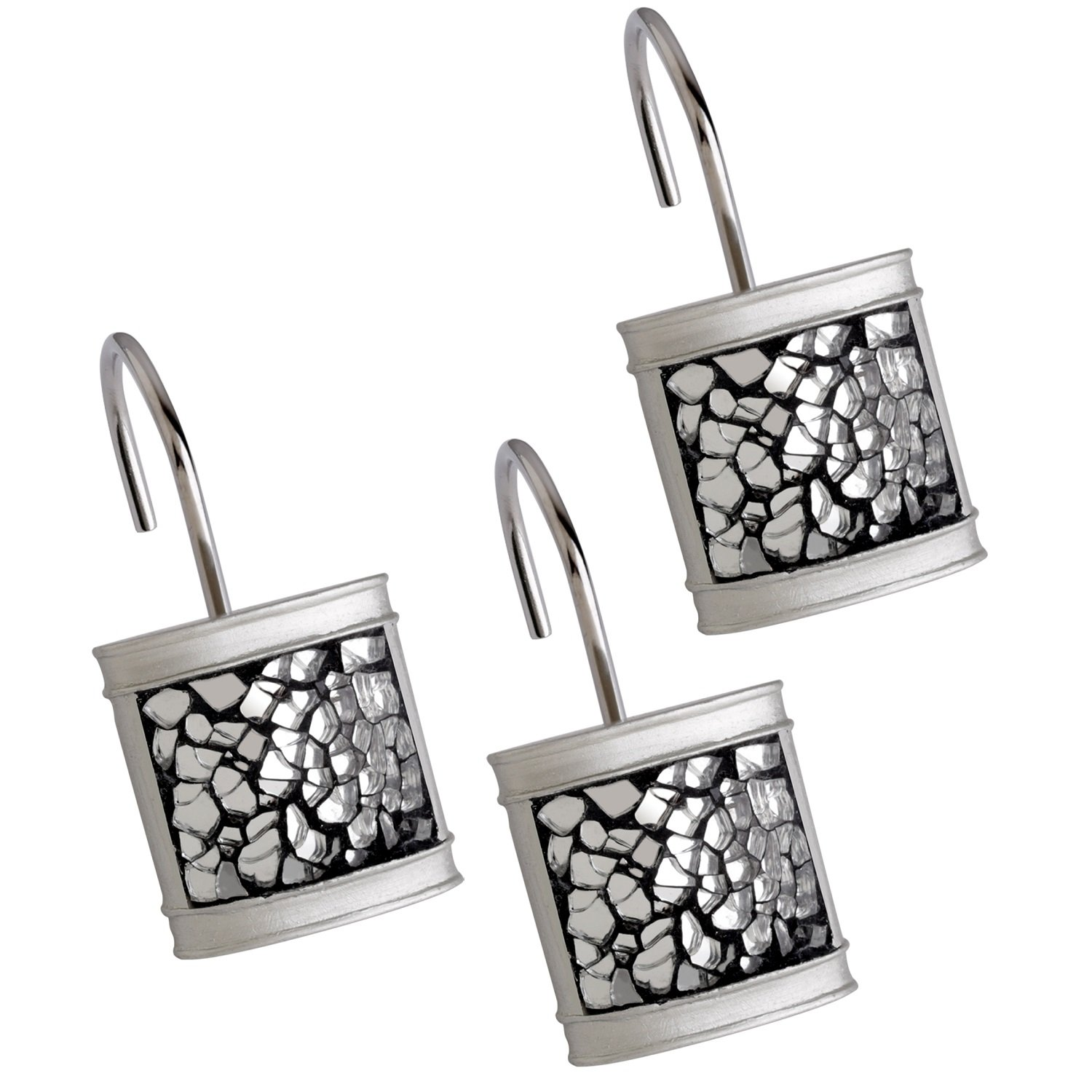 Creative Scents Shower Curtain Hooks - Set of 12 Shower Rings for Bathroom Shower Curtain Rod - 100% Rust Proof- Brushed Nickel Collection (Silver)