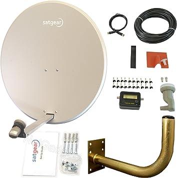 Satgear - Antena parabólica con doble LNB, doble cable, y ...