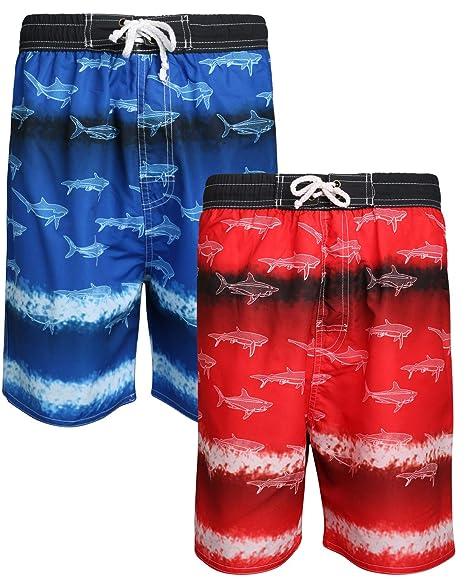6324677d0f Quad Seven Boys Printed Swim Trunks (2 Pack), Blue Shark/Red Shark