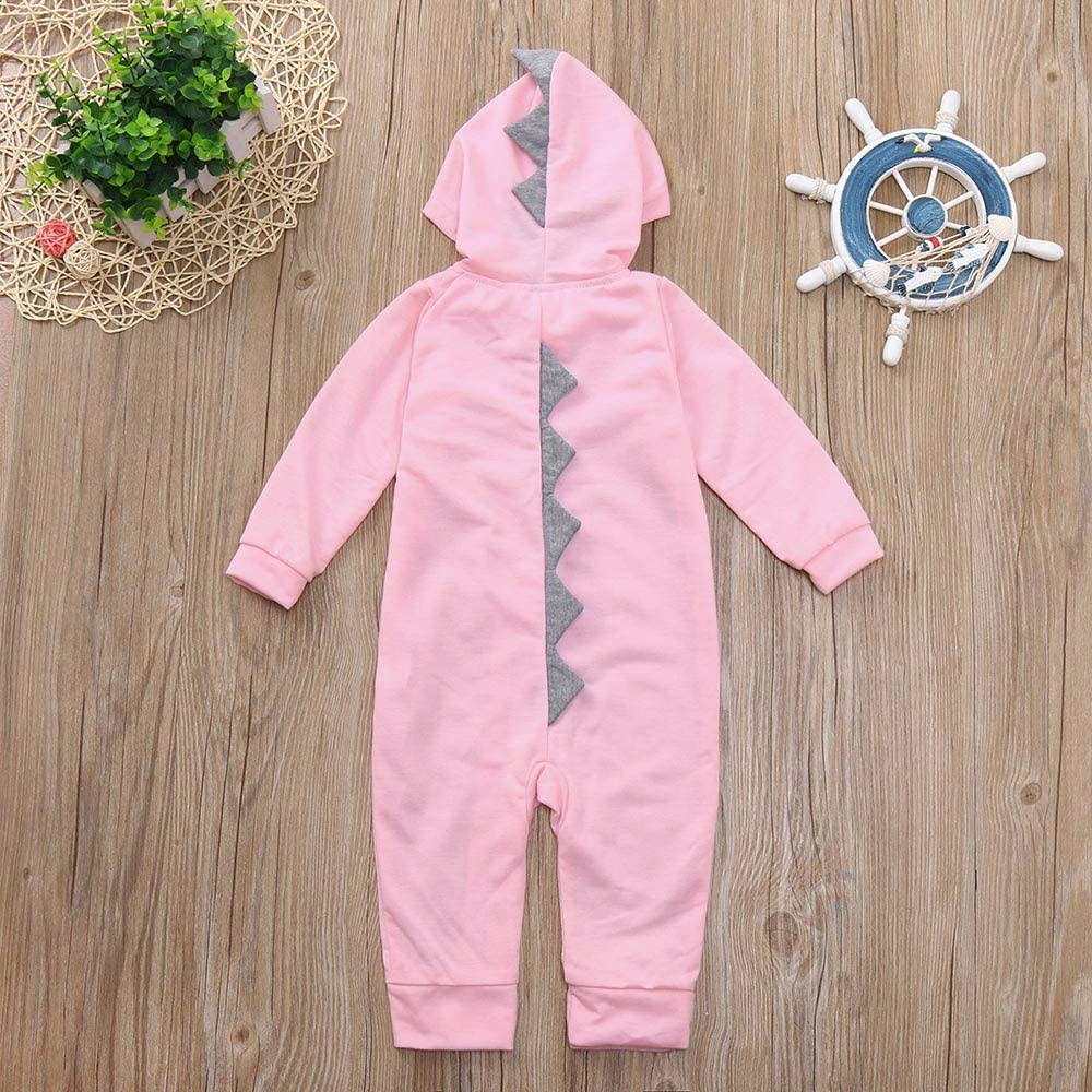 Lucoo Baby Jumpsuit Infant Toddler Baby Girls Boys Dinosaur Hoodie Romper Zip Clothes Jumpsuit