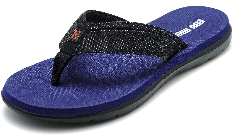 7ea7c1ac6417 Amazon.com  Ebu GoGo Mens Flip Flops Thong Sandals for Men Light Weight  Beach Slippers   Shoes