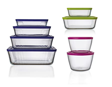 Pyrex 4in1 8 Piece Complete Glass Storage Set With Lids