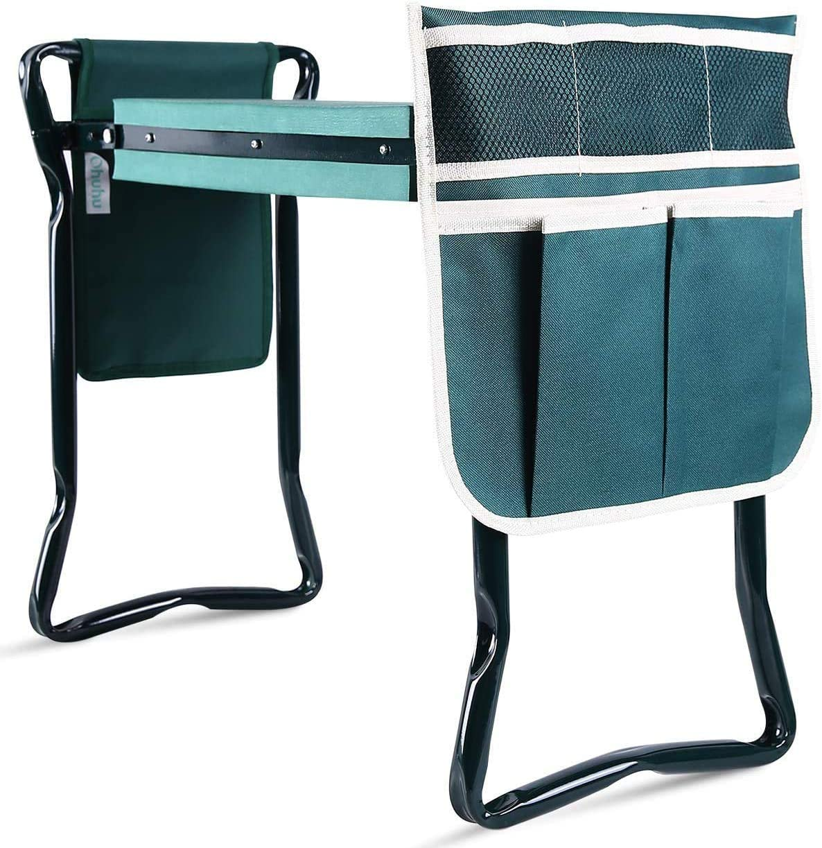 Ohuhu Upgraded Garden Kneeler and Seat with Thicken & Widen Soft Kneeling Pad, Heavy Duty Foldable Garden Stool Bonus 2 Large Pouches for Gardening Tools, Ideal Gifts for Gardener Parents Seniors