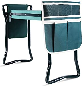 Ohuhu Upgraded Garden Kneeler and Seat with Thicken & Widen Soft Kneeling Pad
