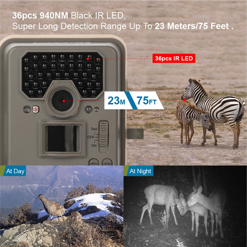 Trail Camera Night Vision Game Camera Waterproof IR LEDs Takes HD 12mp Image 1080p Video from 75feet Distance with 2.0'' LCD Screen for Hunting&Scouting / Security & Surveillance / Wildwife Observation by Bestguarder (Image #2)