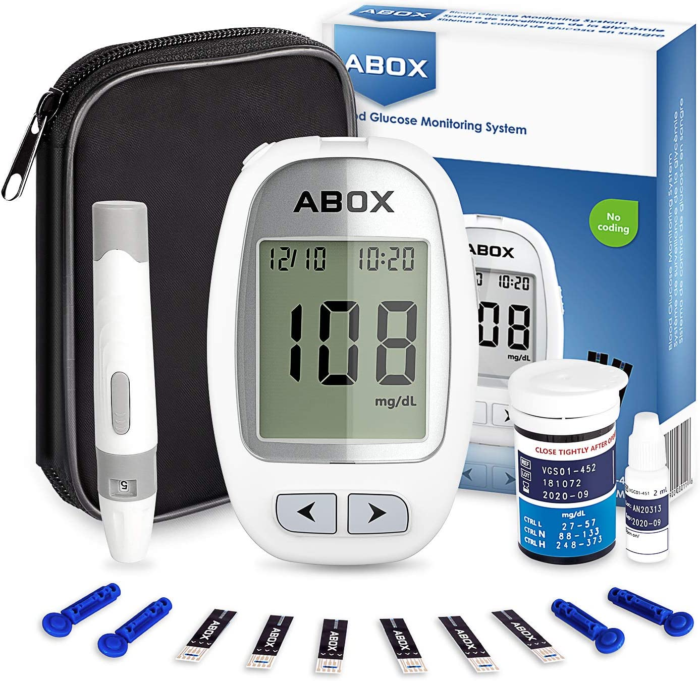 Blood Glucose Monitor, ABOX Diabetes Testing Kit Glucose Meter Kit with 25 Test Strips, 25 Lancets, Lancing Device, Control Solution and Carrying Bag for Blood Sugar Level Monitoring