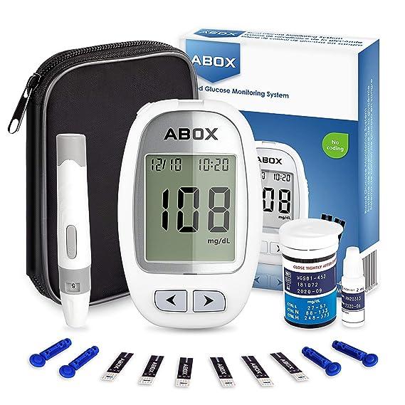 ABOX Medidor de Glucosa en Sangre, Kit de Glucómetro Codefree con 25 Tiras, 25 Picotazo, Estuche de Viaje, Paquete de Sistema de Monitoreo de de Azúcar en ...