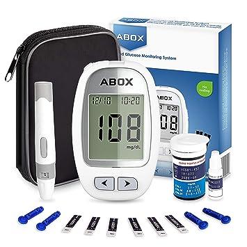 ABOX Medidor de Glucosa en Sangre, Kit de Glucómetro Codefree con 25 Tiras, 25 Picotazo, ...