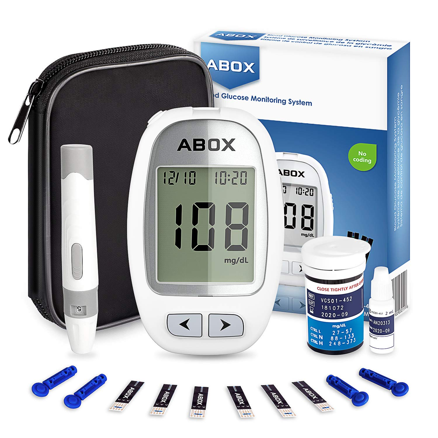 Blood Glucose Meter Kit, ABOX Glucose Monitoring Kit Diabetes Testing Kit with 25 Test Strips, 25 Lancets and Everything You Need to Test Blood Sugar Level product image