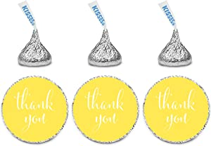 Andaz Press Chocolate Drop Labels Stickers, Thank You, Yellow, 216-Pack, for Wedding Birthday Party Baby Bridal Shower Kisses Party Favors Decor Envelope Seals