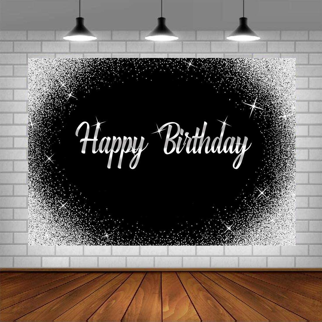 Happy Birthday Backdrop Glitter Silver Dots and Black Photography Background 5x3ft Birthday Party Decorations Banner for Any Age Men Women