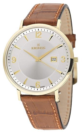 Kronos - First Class Silver 971.33 - Reloj de Caballero de Cuarzo, Correa de Piel