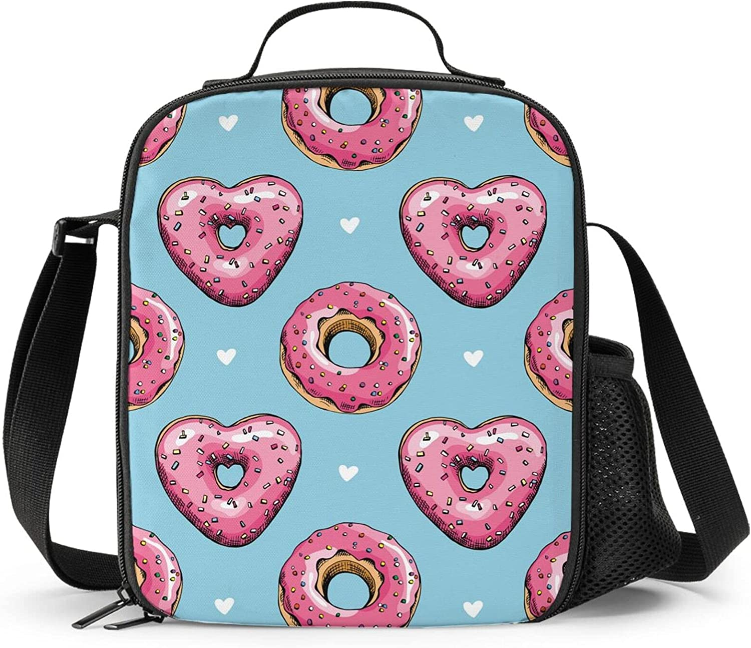 Niukom Heart Donuts Pink Blue Reusable Lunch Bag Kid'S Insulated Tote Lunch Box Food Bag Cooler Bag Meal Bag Food Container For Boys Girls Child Back To School Travel Picnic Beach Camping Travel