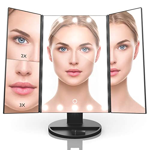 Abblex Tri-Fold LED Makeup Vanity Mirror, Dual Color Lighting with 2x 3x Magnification, Touch Screen Switch, Adjustable Brightness with 180 Rotatable Stand and USB Power Cable