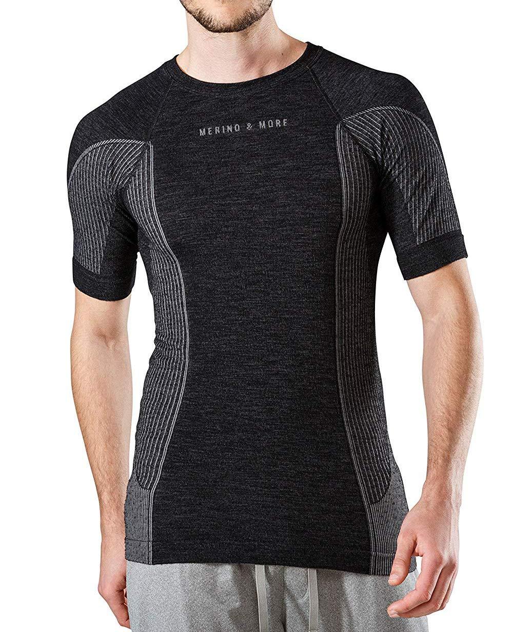 Merino & More Herren Funktions T-Shirt Merinowolle - Funktionsunterwäsche Kurzarm