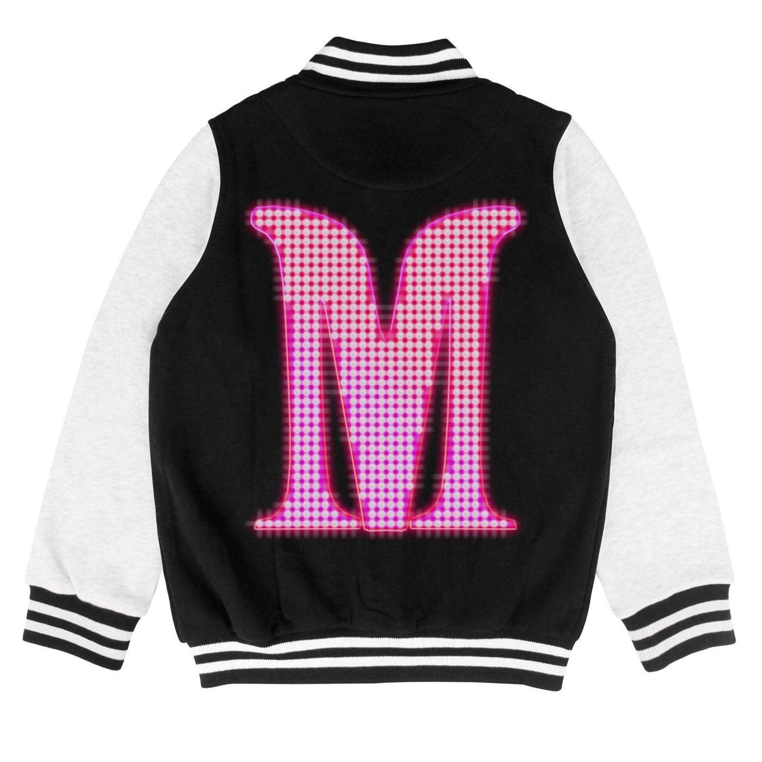 Boys Girls Varsity Letterman Baseball Jacket School Creative Rock Band Logo Design Sweatshirt Coat Cotton Top