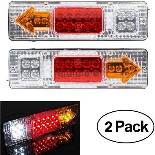 2x Anhänger Rücklichter 19 Led Bremslichter 12v Lkw Caravan Auto Rücklichter Stop Rückfahrleuchte Wasserdichte Pfeile Lampe Auto