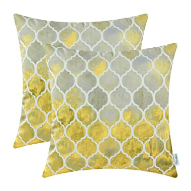 CaliTime Pack of 2 Cozy Throw Pillow Cases Covers for Couch Bed Sofa Manual Hand Painted Colorful Geometric Trellis Chain Print 18 X 18 Inches Main Grey Yellow Gold