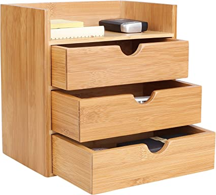Homfa Organizador bambú para escritorio Organizador de Suministros ...