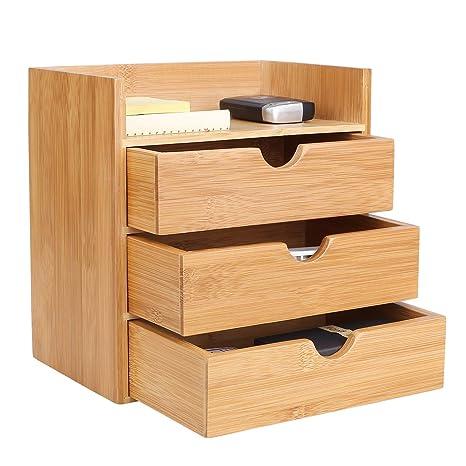 Homfa Organizador bambú para escritorio Organizador de Suministros de Oficina Organizador de Mesa (3)