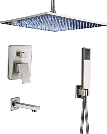 20-Inch Square Rainfall Ceiling LED Rain 2-Ways Shower Faucet Combo Mixer Tap