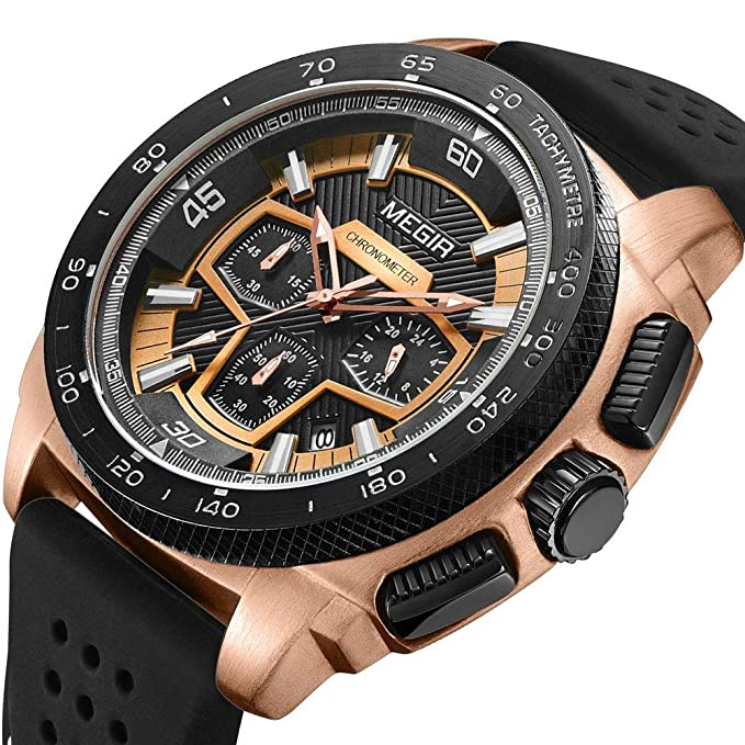 Amazon.com: MEGIR Mens Analogue Quartz Watches Rose Gold Case Black Band Chronograph Watches with Sub-Dial Waterproof Watches Business Dress Watches: ...