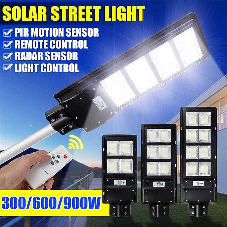 Luz solar para jardín Farola solar, 300W 600W 900W LED Energía solar Lámpara de pared Lámpara de pared con movimiento de radar con control remoto Al aire libre Dusk to Dawn para estacionamiento, pati