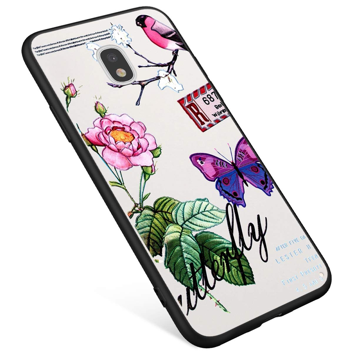 Coque Samsung Galaxy J3 2017,Galaxy J3 J330 Etui en Silicone avec Motif Fantaisie Peinture Fleur Flamingo Case pour Fille Ultra Mince Anti Choc Anti-Rayures Housse de Protection Swag Bumper Shell